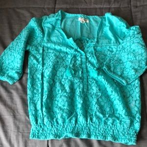 Aero 3/4 sleeve mint green blouse